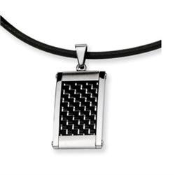STAINLESS STEEL SILVER/BLACK INLAY NECKLACE CH339ST Image